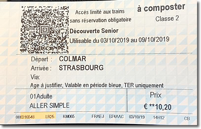 SNCF train ticket, paper, France